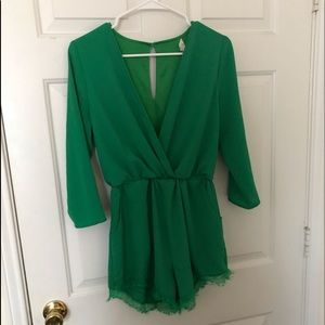 Green long sleeve short romper